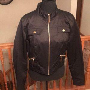 Black Jacket large but fits like a medium.